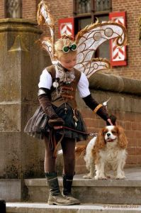 Yes, this is a little girl steampunk fairy and her dog. And yes, I think you'll find it heartwarming and touching.
