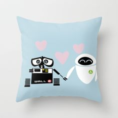 Yes, WALL-E and EVE may be robots. But their story is kind of cute. And so is this pillow.
