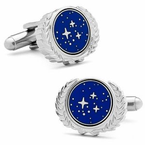 Let me be frank, I don't think you'd be taken seriously with cufflinks like these unless you're at a Star Trek convention. Seriously, why?