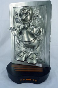 This is him as Han Solo in carbonite. Interesting how Disney made the choice to depict Donald like this. And I'm not sure if he's wearing pants.