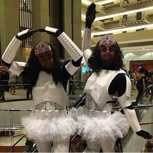 Nevertheless, they're dressed up as Imperial Stormtroopers in tutus and tiaras. Hilarious.