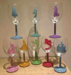 And yet, another set of Disney Princess wine glasses. But these have glitter on them. So it's fine.