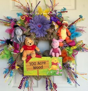 This wreath includes Pooh, Piglet, Tigger, and Eeyore. However, despite that he usually has a key role to play in the cartoons, Rabbit is not included because he's a killjoy.