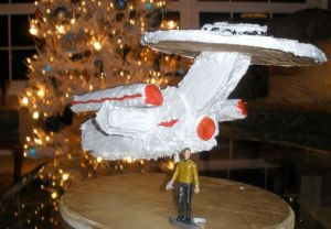Yes, this is another gingerbread Enterprise. But this one is covered in icing while the last one wasn't.
