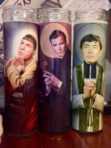 Consists of Kirk, Spock, and Sulu. Made by some company on Etsy. Still, these are quite funny.