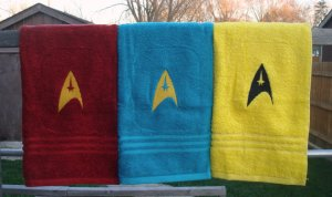 Available in 3 different colors with the insignia embroidered. Will go well in an Trekkie bathroom.