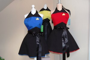 Since they tend to depict Starfleet uniforms from TNG. Like the black bows on them though.