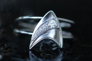 Guys, just because your girlfriend likes Star Trek doesn't mean she wants to get engaged with a Star Trek ring. Better go with a standard one from a jewelry store.