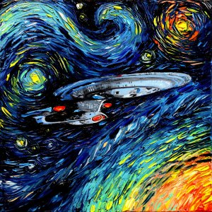 This is a Star Trek rendition of Van Gogh's Starry Night. Notice it's in space and not in a town. Yet, it's clever.