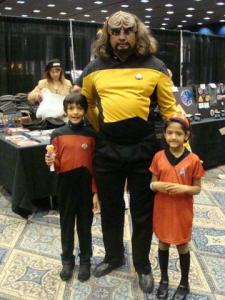 Actually I think this is a dad with his kids. But Worf is a very popular character in Star Trek since he's a Klingon and a badass.