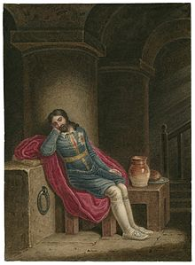 """Richard II: """"For God's sake, let us sit upon the ground,/And tell sad stories of the death of kings:/How some have been depos'd, some slain in war,/Some haunted by the ghosts they have depos'd;/Some poison'd by their wives, some sleeping kill'd;/All murder'd — for within the hollow crown."""" - Act III, Scene 2"""