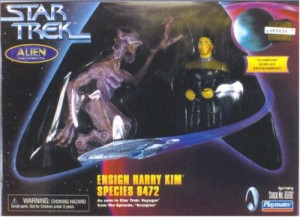 "From The Robot's Voice: ""When not ripping off plots and supporting characters from Star Trek: The Next Generation, Voyager loved patting itself on the back for everything from the half-robot broad in the spandex to the thrills that came from Tom and B'Ellana's domestic problems. This self-aggrandizing reached its apex in 1997 when the series presented Trek's first-ever CGI villain, Species 8472. Hopes were high that the creatures would become as beloved as the Borg–who were quickly brought in as the alien race's enemies in yet another shameless grab for ratings when no one cared about the new foe. These days, Species 8472 is a reminder of the glut of poor CGI that dominated late-1990s sci-fi. Released in a two-pack with a Harry Kim that is apparently covered in shit, the figure looks more realistic than the actual creature did. Not that that justifies its existence or anything."""