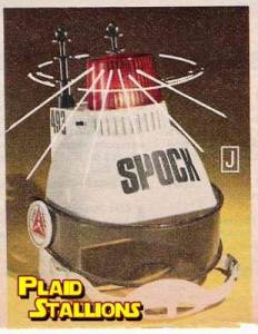 "From The Robot's Voice: ""After Spock lost his brain (in the single greatest Trek episode ever written), Captain Kirk made him wear this Brain Protector Helmet which had a siren in case anyone tried to steal it. Wait, that's not right. This is actually just a phenomenally stupid toy that some cheap-ass toymaker decided to put Spock's name on, and another easy way to make certain you get beaten up at school. However, we?d pay 20 bucks to see Leonard Nimoy put one on."" I can't think of any logical reason why this exists. Someone must be out of their Vulcan mind."
