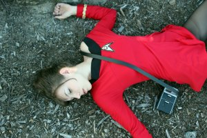Here we see a redshirt doing what redshirts do best: dying on the planet. That's what they mostly do.