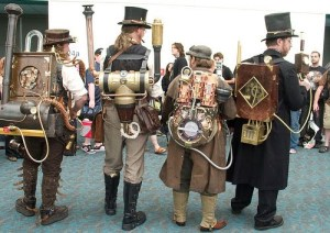 Indeed, these are steampunk Ghostbusters. And no, they're not afraid of no ghosts. Like the packs by the way.