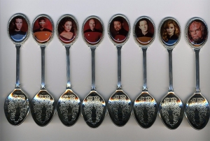 "From The Robot's Pajamas: ""Ah yes, my fine collection of Next Generation spoons. No, no. We don't use them for soup. They are to look at. They're spoons AND photos of the Next Generation crew. A perfect match!"" And I bet they're not for eating with either."