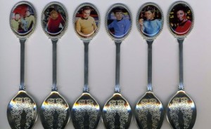 Each character has his or her own spoon except Chekov and Sulu. For they have to share. I don't have any logical explanation for this either.