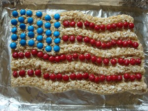 Covered with blue and red M&Ms for a more patriotic measure. What more is there about this to love?