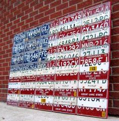 Yes, this is an American flag made from license plates. Don't ask me what state you have to live to make something like this. Because I don't have the slightest idea.