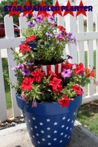 This consists of 2 flower pots. The smaller is of stripes. The larger is blue with white stars.