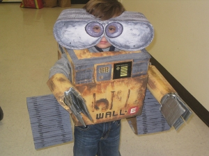 This one seems to be a DIY. And I bet this boy has a parent who's a repressed art major. Nevertheless, WALL-E is so adorable and so sweet that you just want to give him a hug.