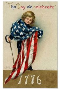 And that kid is holding a sword while being draped with an American flag. Reading his face, he may have an idea about using it which should be of great concern to his parents.