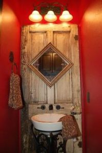 And it has a turned square mirror as well as a row of lights. Might go well in a log cabin bathroom. If there's no outhouse.