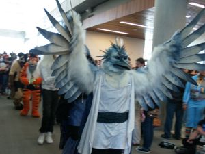 I'm sure this is a fantasy bird. Because I'm not sure if a bird like that exists in real life. The clothes fit him though.