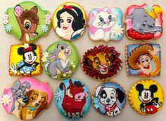 These are cookies depicting well-known Disney characters. Some from movies you've seen. Some you haven't.