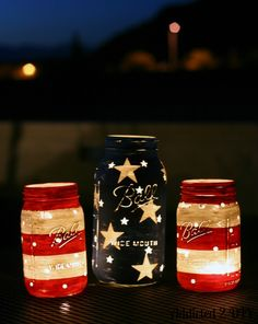 Well, this is a nice way to use old jars. Like how the lights show through them in the night.