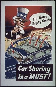 Because car sharing saves on gas that could be used to fuel our tanks in North Africa. And this is definitely from WWII, by the way.