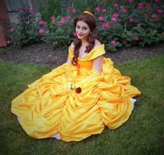 And in her yellow ball gown, too. However, if she was outside, I'd think she'd be wearing something else. Like her normal blue dress.