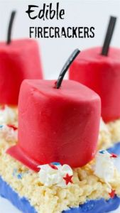 Includes Rice Krispie treats with marshmallows on them. Well, marshmallows with red icing on them anyway.