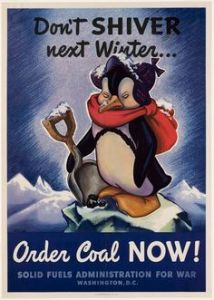 Because the war effort needs oil. But you can also order wood. Love the freezing penguin in this.