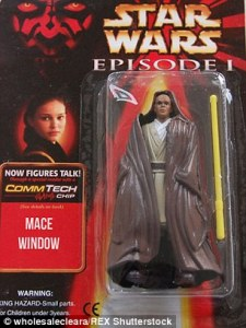 And he has a yellow lightsaber when his is supposed to be purple. Also, looks a lot like Mace Windu of the Jedi Council.