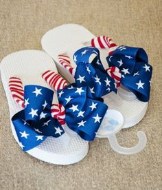 These have red and white straps and blue bows with stars. However, don't wear these in a public shower.