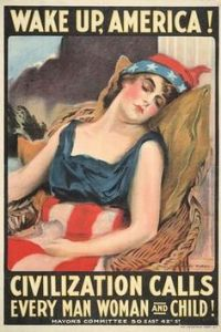 And here's the lady personifying America fast asleep. Another WWI poster.