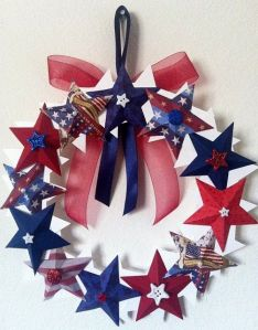 Because it's a red, white, and blue star wreath. And yes, it has some ribbon trimmings, too.