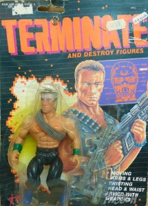 "From the Fwoosh: ""Ah, very clever. Instead of using Ahnold's face on the package, they used Jean-Claude Van Damme, and instead of using Jean-Claude""s face on the figure, they used your dad's! Lawsuit dismissed!"""