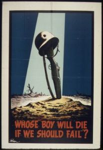 That's a harrowing propaganda poster. But when in war, a lot of soldiers die. Such is life.