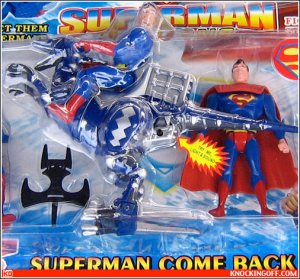 Not only are there 2 Supermans in this package. But one of them is riding a dinosaur. I kid you not.