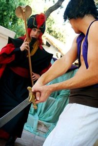Because Aladdin is wielding a sword at him for good reason. Perhaps he should try to aim for his pride.
