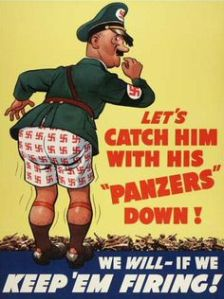 I think this is a clever one for WWII. Notice how Hitler has swastikas on his underwear.