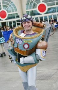 Yes, this is a steampunk Buzz Lightyear. And yes, his suit has all the gear but more suited for a bygone era.