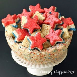 The bowl contains red, white, and blue in it and so do some of the treats. Also has red, white, and blue Rice Krispie stars.