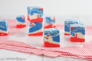 Well, these are tie dyed fudge squares. But they're red, white, and blue as well as all American just the same.
