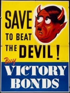 And the devil here is Adolf Hitler. Here he's even red with horns and pointy ears.