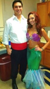 And here she is with her Prince Eric. I know that she has a mermaid dress and a sparkly bra. But it'll do.
