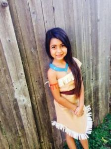 Well, this costume is almost close to the real thing. And this girl doesn't seem much younger than the real Pocahontas either. So cute.