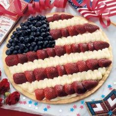 Yet, another American flag fruit pizza. But this one has strawberries, blueberries, and banana. So it's much healthier than the other one I showed.